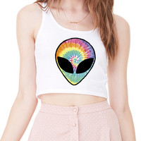 Tie Dye Alien Head Tank CROP TOP