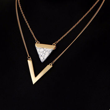 Mod Bohemian Double Layer Triangle Stone Pendant Necklace