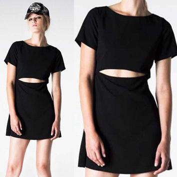 Fashion Crop Top Summer Stylish Slim Short Sleeve One Piece Dress = 4816944196
