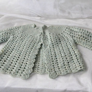 Knitted Baby Sweater Newborn to 3 mos Gray Blue , Handmade Infant Sweater , Doll Sweater , Baby Infant Outerwear