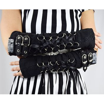 Poizen Industries Goth Rockabilly Lady Black Lace Up Buckles Orchid Arm warmers