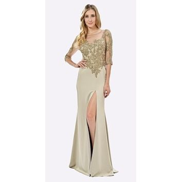 Champagne Mesh Embroidered Bodice Mid Sleeves Formal Dress with Slit