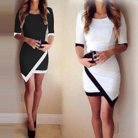Women Vestidos Casual Bandage Bodycon Dress Ladies O-neck Half Sleeve Asymmetric Patchwork Elegant Short Mini