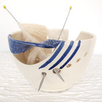 Blue Twisted Leaf Ceramic Yarn Holder Bowl, Knitting Bowl, Dots, Fresh White POTTERY stoneware clay - MADE to ORDER