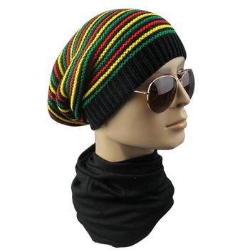 Winter Hip Hop Bob Jamaican cap Rasta Reggae Hat Multi-colour Striped Beanie Hats For Men Women new style Male Beanie Caps Gorro