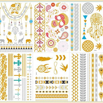 New Release, Dalin 6 Sheets Gold Silver Blue Body Temporary Metallic Tattoos Jewelry Inspired Bling Adult Temp Metallic Glitter Art Tattoos Long Lasting, Trendy Tattoo Designs - Elephant, Feather, Skull, Earring, Anchor and More