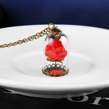 2017 Fairy Tale Movie Beauty And The Beast Necklace Rose in Terrarium Pendant Glass Rose Valentines Necklace Jewelry