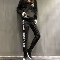 """Chrome Hearts"" Women Casual Fashion Letter Pattern Print Cardigan Hooded Long Sleeve Set Two-Piece Sportswear"