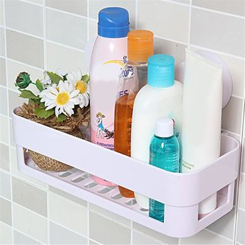 1PCS Kitchen Bathroom Shelf Wall Rack With 2 Suckers Plastic Shower Caddy Organizer Holder Tray With Suction Cups Lotion Storage