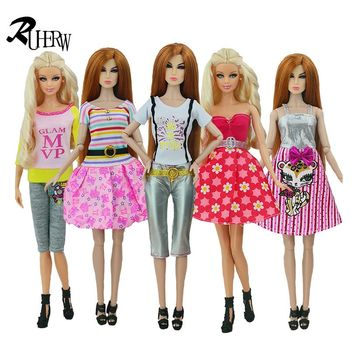 5 Pcs Handmade fashion clothes For Barbie Doll dress baby girl birthday new year present for kids