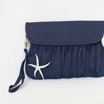 Navy Blue Clutch with starfish brooch, navy wedding clutch , Beach theme wedding