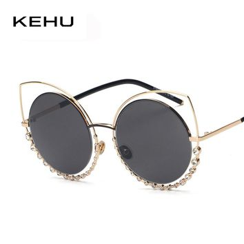 KEHU NEW Metal Cat eye Sunglasses women Twin-Beams Rhinestone Frame Sunglasses H1740