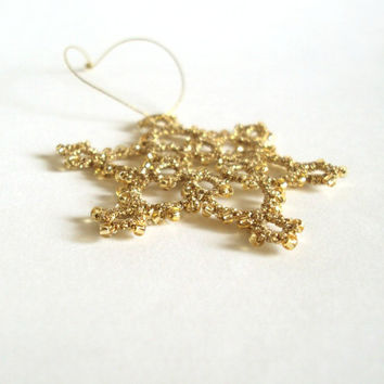 Gold Beaded Christmas Tree Decoration - Sparkly Hanging Ornament - Celyna - Small