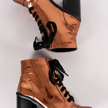 Chunky Heeled Combat Lace-Up Ankle Boots | UrbanOG