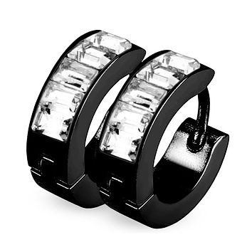 Sparkling Night - Black Ion Plated Stainless Steel Hoop Earrings With Princess Cut CZ Stones