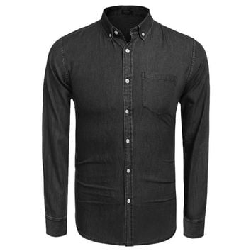 Men Denim Shirt  New Top Quality Casual Long Sleeve Button Down Denim Office Business Shirts US Size