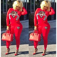 GUCCI Trending Women Stylish Long Sleeve Top Sweater Top Pants Trousers Set Two-Piece Red