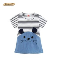 Summer Cartoon Rabbit Striped Patch Girls Dress Kids Dresses For Girls Denim Baby Clothes Princess Dress Toddler Girl Clothing