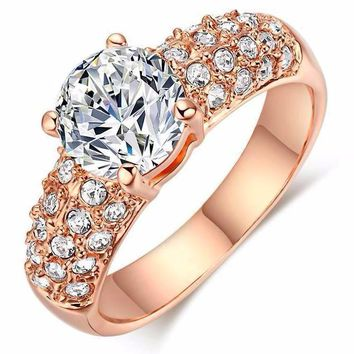 Round Cut CZ Diamond Solitaire Engagement Ring- Silver/Rose Gold