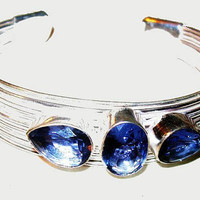 """Iolite Cuff Bracelet Wire Wrapped Signed 925 Sterling Silver 15 Carats 2 3/4"""" NOS Vintage"""