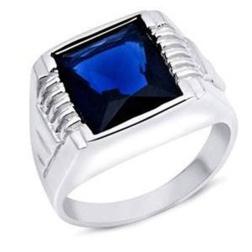 Sterling Silver Men's Blue Sapphire Ring with CZ Stones,Face Height 14 mm