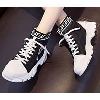 FENDI Newest Popular Women Casual Boots Shoes High Help Martin Boots Shoes Black