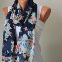 Navy Chiffon Scarf-Chiffon Scarf-women accessories-Fall fashion-Mother days Gift-Gift İdeas-fashion scarf-scarves-Accessories-printed scarf