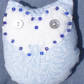 Tiny Blue Barn Owl accent pillow with mother of pearl eyes and cobalt blue beading OOAK original design