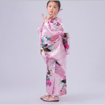2017 new Japanese Kimono Vintage Original Novelty Floral Child Party Dress Kid Girl Cospaly Costume High quality free shipping