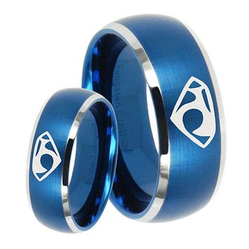 His Her Satin Blue Dome House of Van Two Tone Tungsten Wedding Rings Set