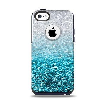 The Turquoise & Silver Glimmer Fade Apple iPhone 5c Otterbox Commuter Case Skin Set
