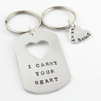 I Carry Your Heart In My Heart - Valentine's Day Gift - Hand Stamped Personalized Heart and Dog Tag Keychains - Matching Couple's Gift