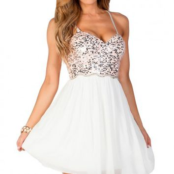 Chastity Pink White and Silver Strapless Sequin Party Dress