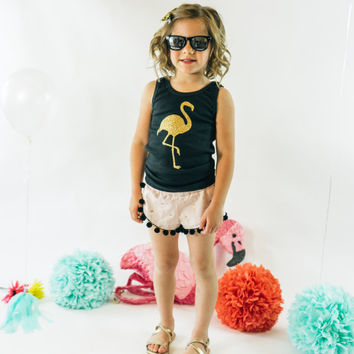 Gold Flamingo Girls Outfit | Pink w/ Gold Flamingos Pom Pom Shorts and Black Flamingo Tank