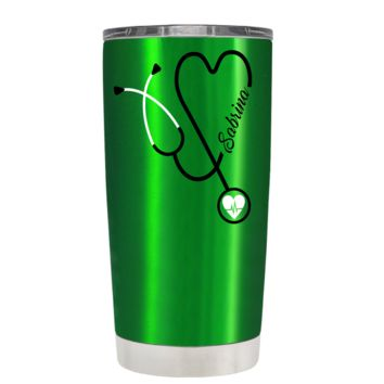 Personalized White Stethoscope Nurse Heart on Translucent Green 20 oz Tumbler Cup