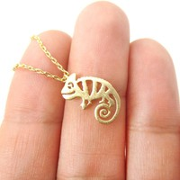 Adorable Chameleon Shaped Cut Out Charm Necklace in Gold | Animal Jewelry