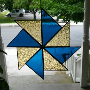 Stained glass suncatcher in turquoise blue and yellow, pinwheel, Glass Art, art & collectables, home decor, modern quilt, hip chick glass