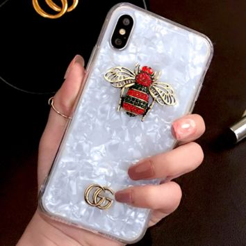 GUCCI iphoneX mobile phone shell silicone soft shell 6s with lanyard 7P female