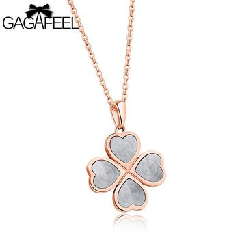 Gagafeel Laser Engrave Name Custom Heart Lucky Grass Pattern Necklace For Woman Jewelry 18 K Stainless Steel Pendant Gift