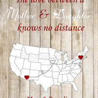 SALE Mom Daughter Wood Print- mom daughter map, nana grandma wood, us states map mother, Father's Day print, gift for dad, personalized map