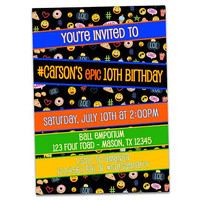 Emoji Invitations - Smiley Birthday Invitations - Emoji Birthday Invitation - Boy Girl - Teen Invitations - 13th 14th 12th 11th - Neon - LOL