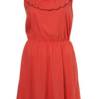 Coral Embroidered Scallop Tunic - Jersey Tops - Clothing - Topshop