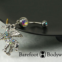 Pegasus Unicorn Belly Button Ring , navel piercing, #100-32