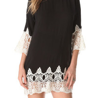 Black Lace Trimmed Tunic Dress