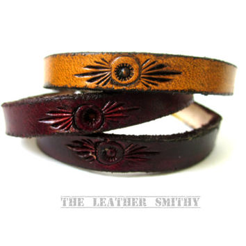 "Rustic Leather Bracelet, 1/4"" wide Bracelet, Leather Bracelets, Hand Tooled Leather Jewelry"