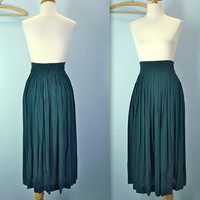 80s green skirt - HIGH waist dark green skirt - pleated full skirt