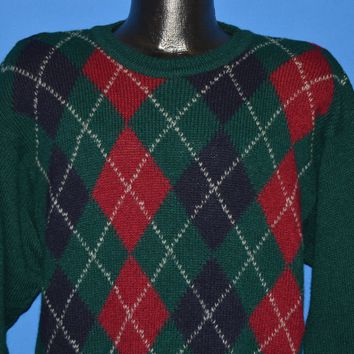 80s Burberrys Argyle Wool Sweater Small