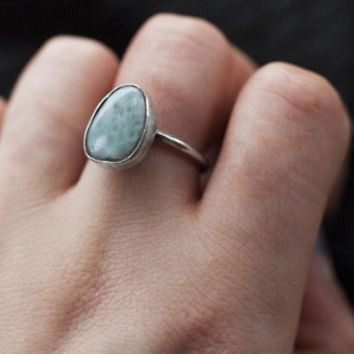 Larimar Ring, Larimar Jewelry, Sterling Silver Ring, Gemstone Ring, Custom Made Rings, Silver Jewellery, Silver Ring, Stacking Ring, Stone