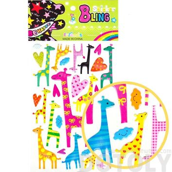 Funky Patterned Giraffe Shaped Animal Jelly Stickers for Scrapbooking and Decorating