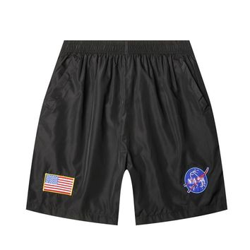 2017 New Drawstring Military Army Men Shorts Beach Board Shorts Men Summer Style Polyester american flag Patch Casual boy trunks